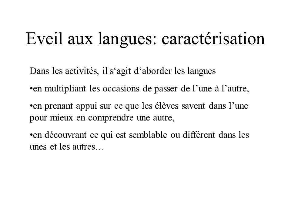 Eveil aux langues: caractérisation