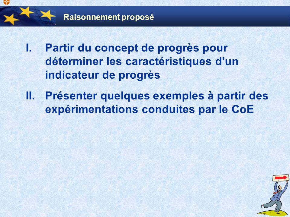 Raisonnement proposé Partir du concept de progrès pour déterminer les caractéristiques d un indicateur de progrès.