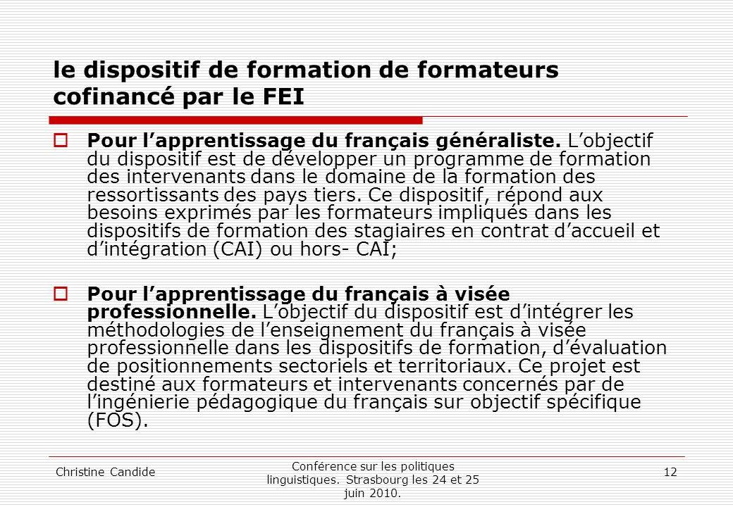 le dispositif de formation de formateurs cofinancé par le FEI