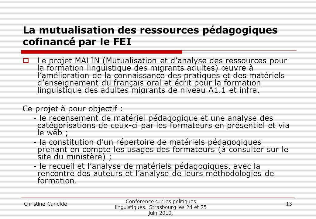 La mutualisation des ressources pédagogiques cofinancé par le FEI