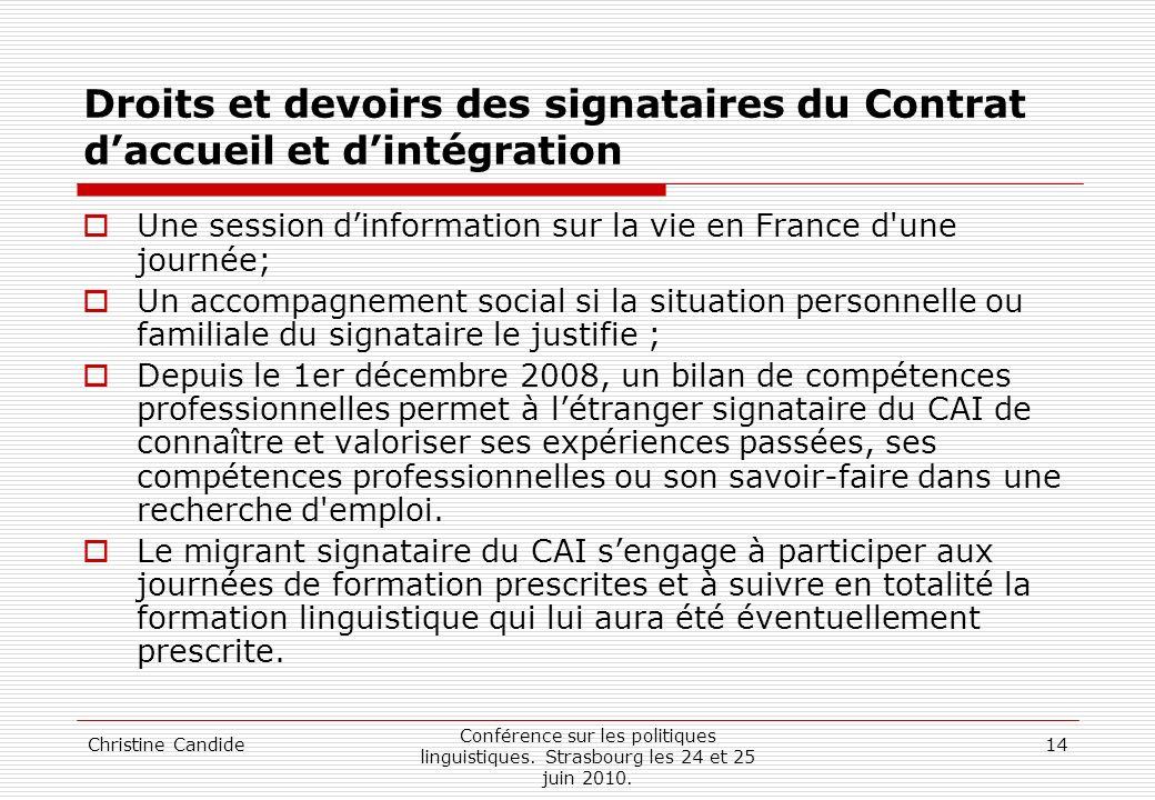 Droits et devoirs des signataires du Contrat d'accueil et d'intégration