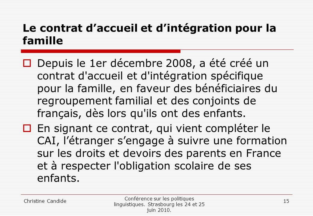 Le contrat d'accueil et d'intégration pour la famille