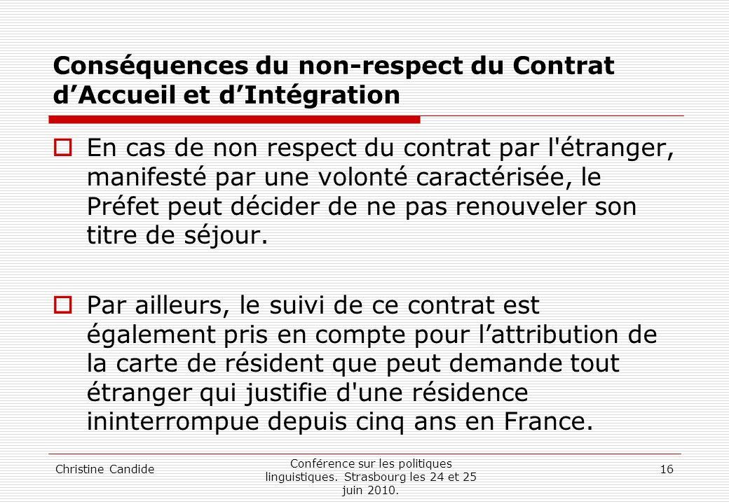 Conséquences du non-respect du Contrat d'Accueil et d'Intégration