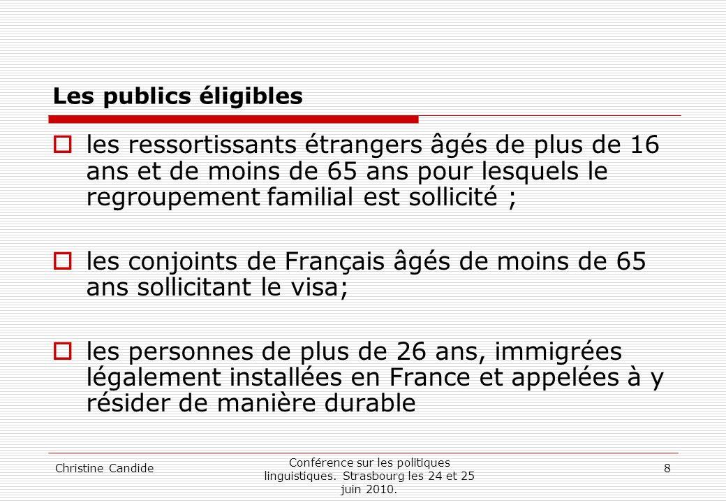 les conjoints de Français âgés de moins de 65 ans sollicitant le visa;
