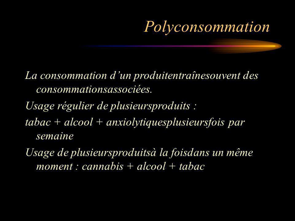 Polyconsommation La consommation d'un produitentraînesouvent des consommationsassociées. Usage régulier de plusieursproduits :