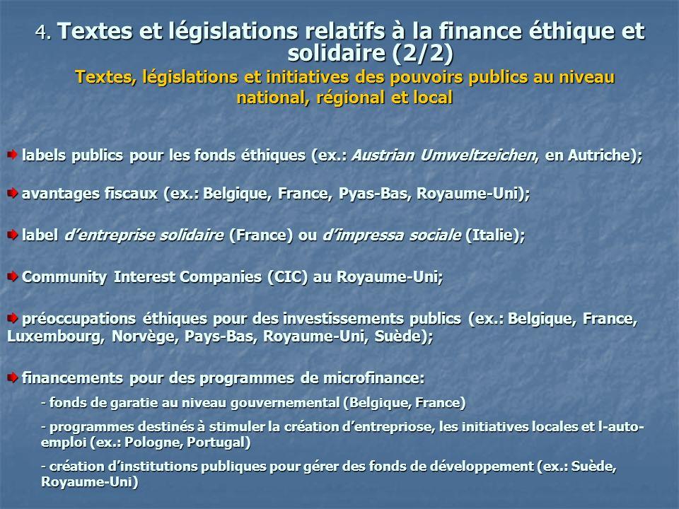 4. Textes et législations relatifs à la finance éthique et solidaire (2/2)