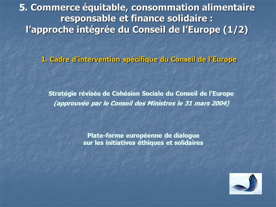5. Commerce équitable, consommation alimentaire responsable et finance solidaire : l'approche intégrée du Conseil de l'Europe (1/2)