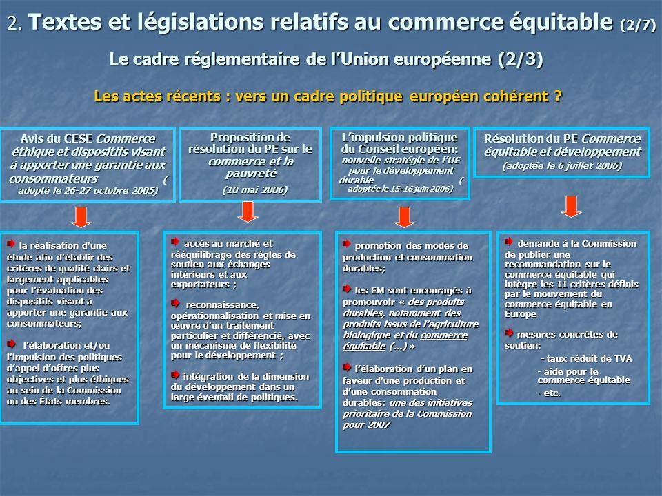 Le cadre réglementaire de l'Union européenne (2/3)