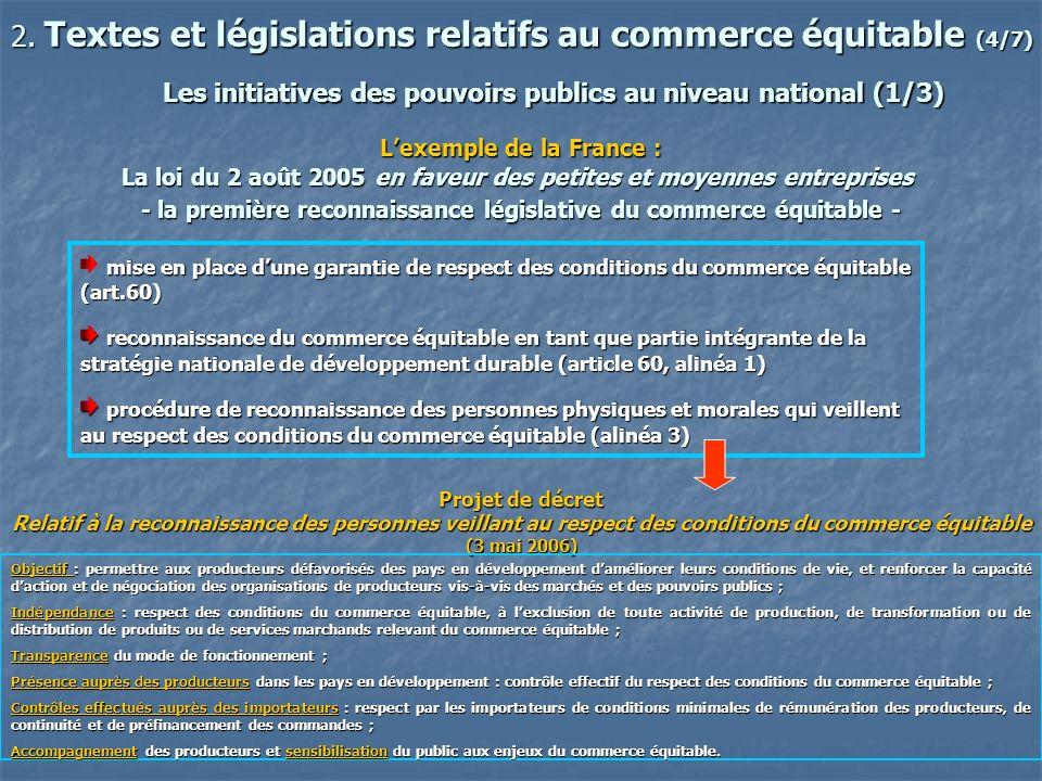 2. Textes et législations relatifs au commerce équitable (4/7)