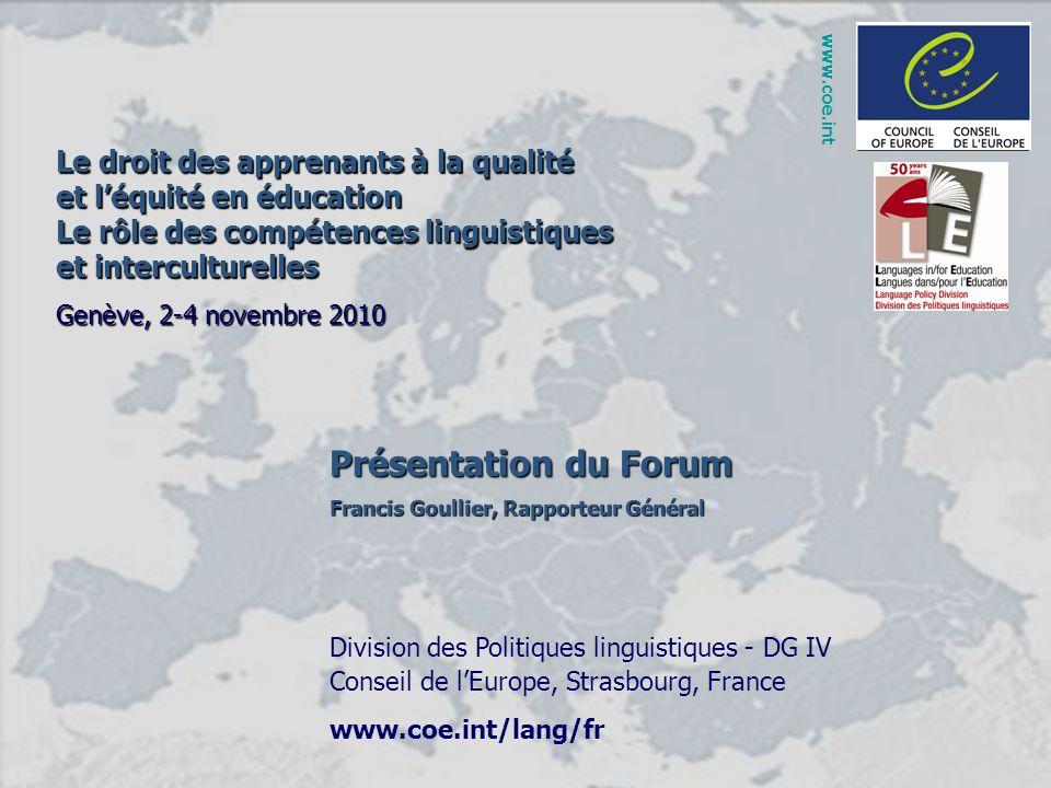 Présentation du Forum Le droit des apprenants à la qualité