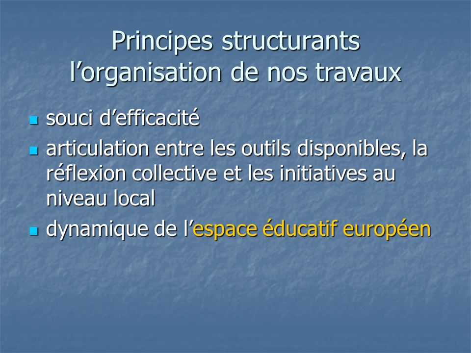 Principes structurants l'organisation de nos travaux
