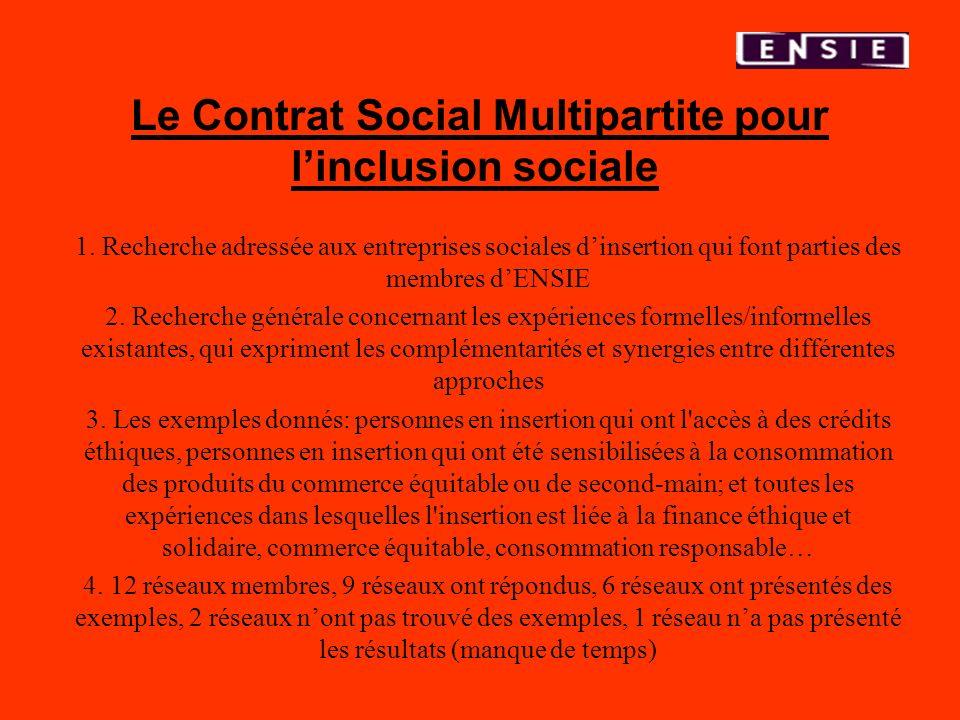 Le Contrat Social Multipartite pour l'inclusion sociale