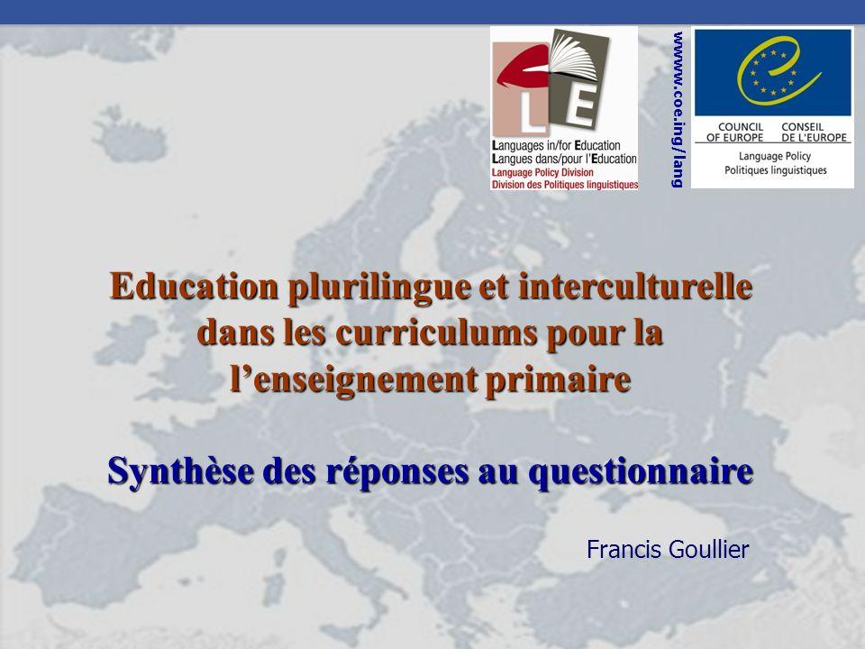 Education plurilingue et interculturelle dans les curriculums pour la