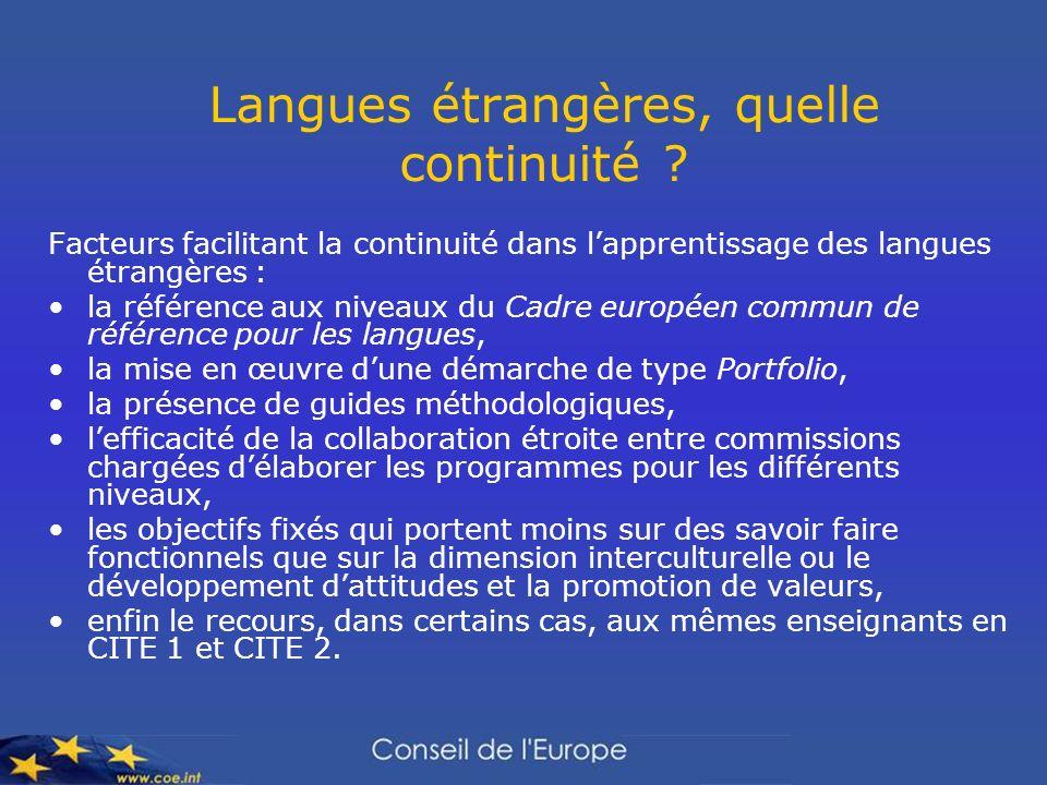 Langues étrangères, quelle continuité