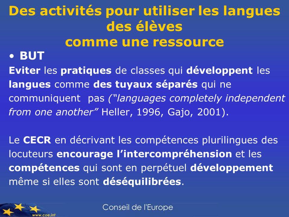 Des activités pour utiliser les langues des élèves comme une ressource