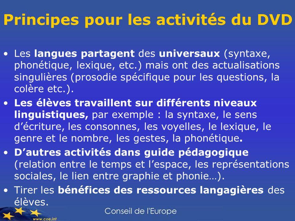 Principes pour les activités du DVD