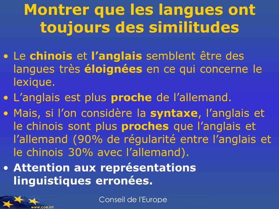 Montrer que les langues ont toujours des similitudes