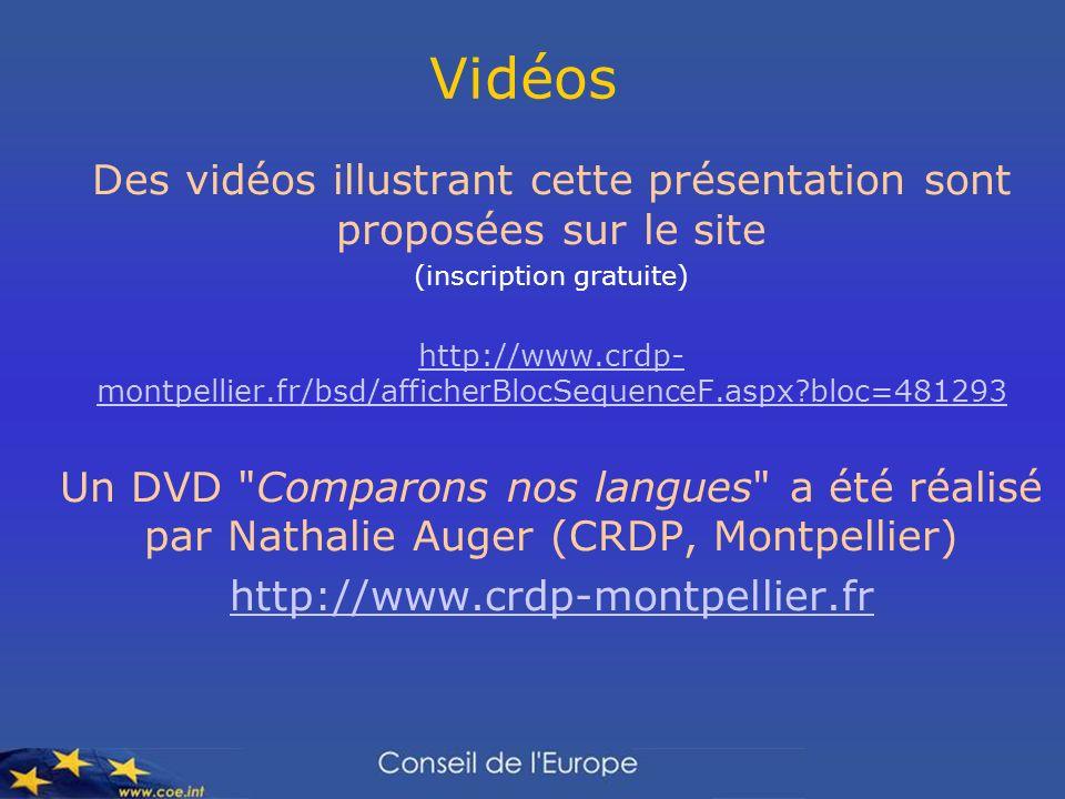 Vidéos Des vidéos illustrant cette présentation sont proposées sur le site. (inscription gratuite)