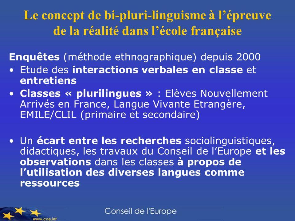 Le concept de bi-pluri-linguisme à l'épreuve de la réalité dans l'école française