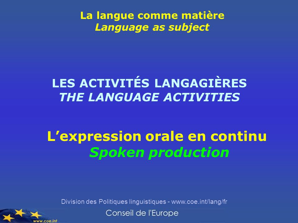 L'expression orale en continu Spoken production