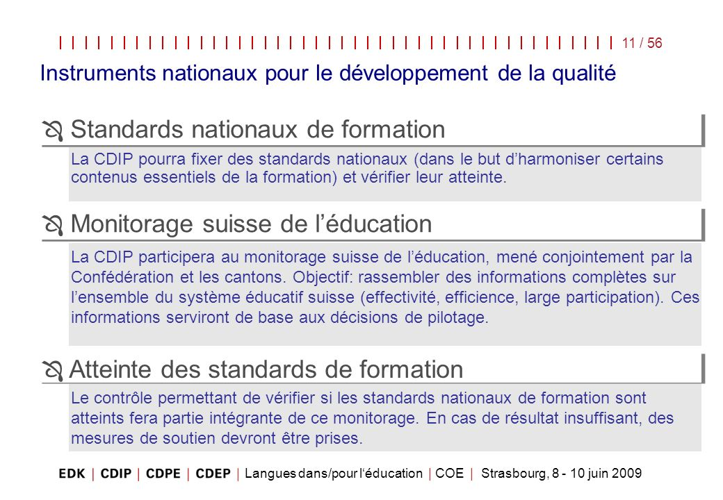 Standards nationaux de formation