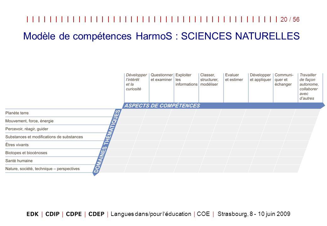 Modèle de compétences HarmoS : SCIENCES NATURELLES