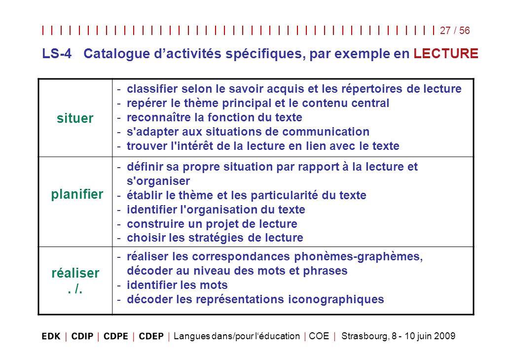 LS-4 Catalogue d'activités spécifiques, par exemple en LECTURE