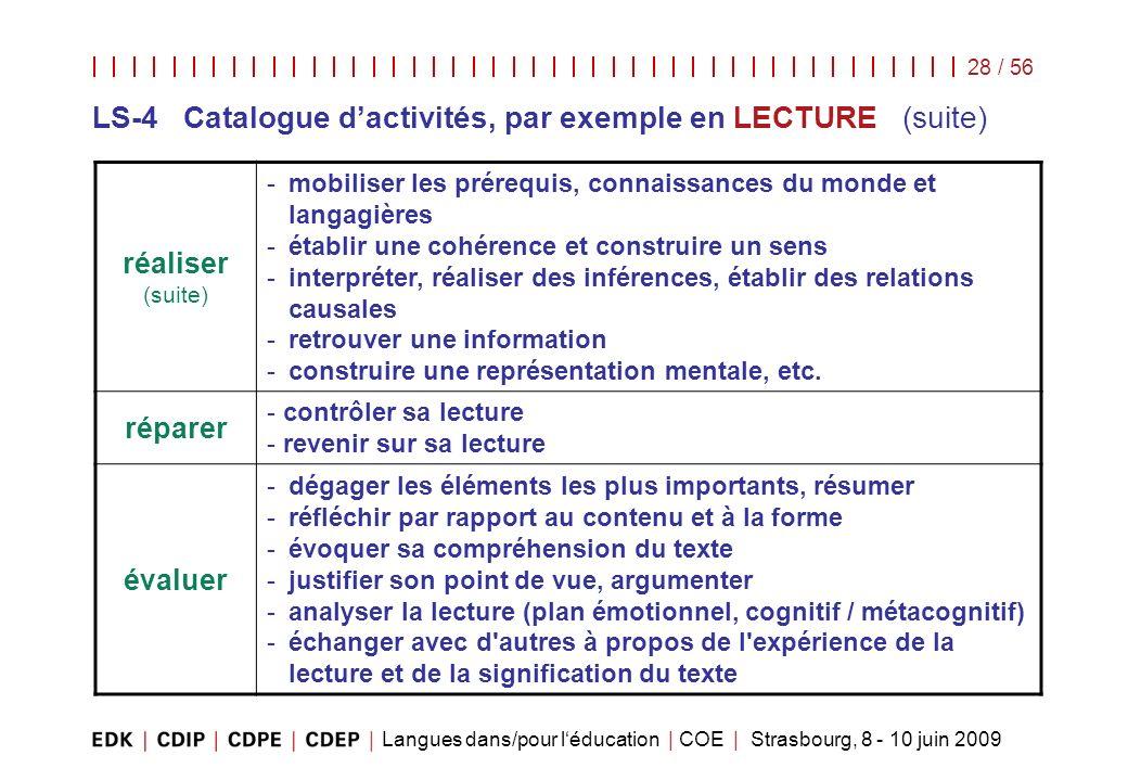 LS-4 Catalogue d'activités, par exemple en LECTURE (suite)