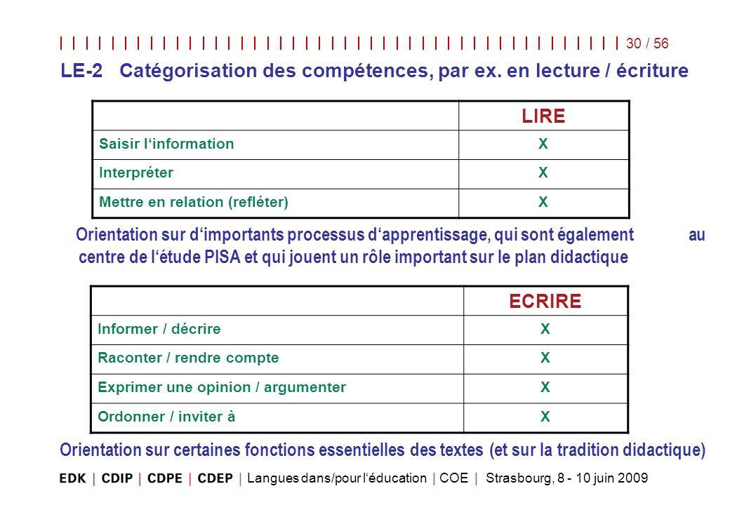 LE-2 Catégorisation des compétences, par ex. en lecture / écriture