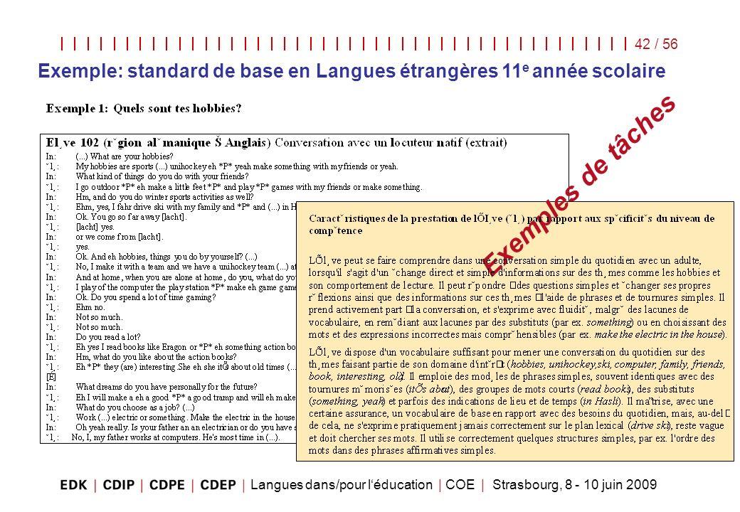 Exemple: standard de base en Langues étrangères 11e année scolaire
