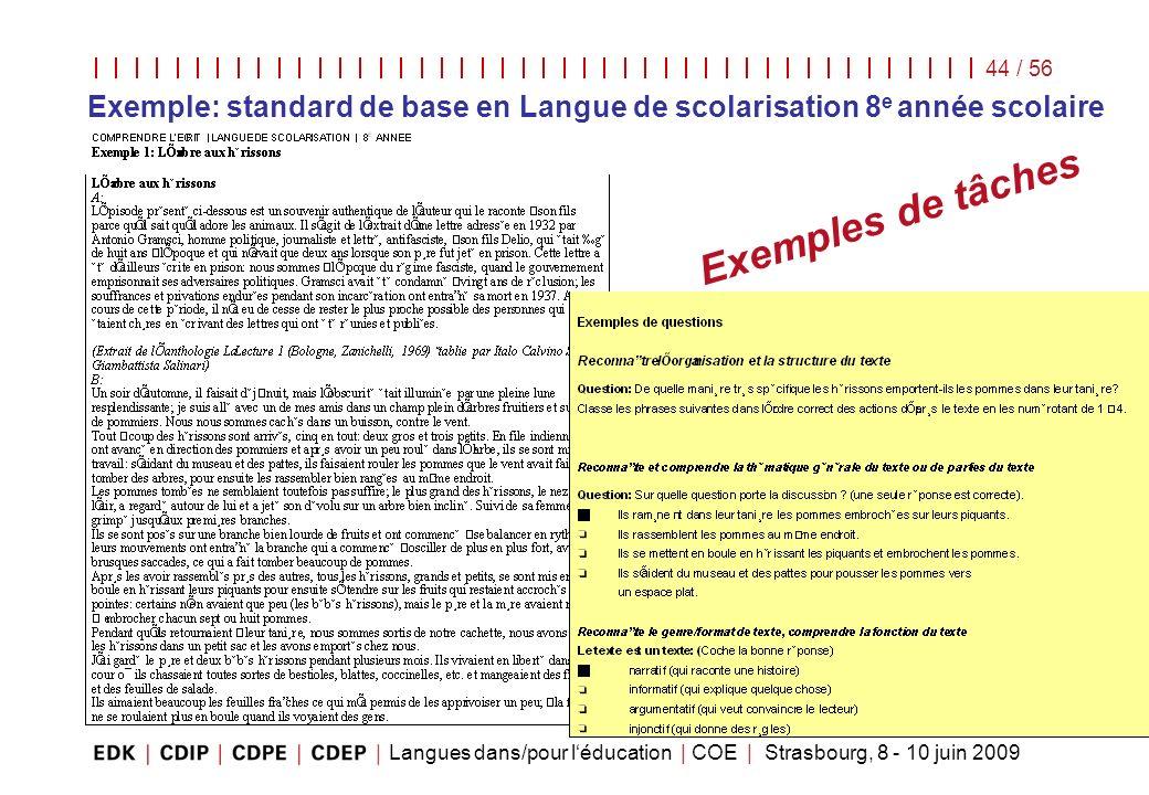 Exemple: standard de base en Langue de scolarisation 8e année scolaire