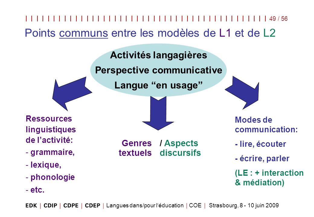 Points communs entre les modèles de L1 et de L2