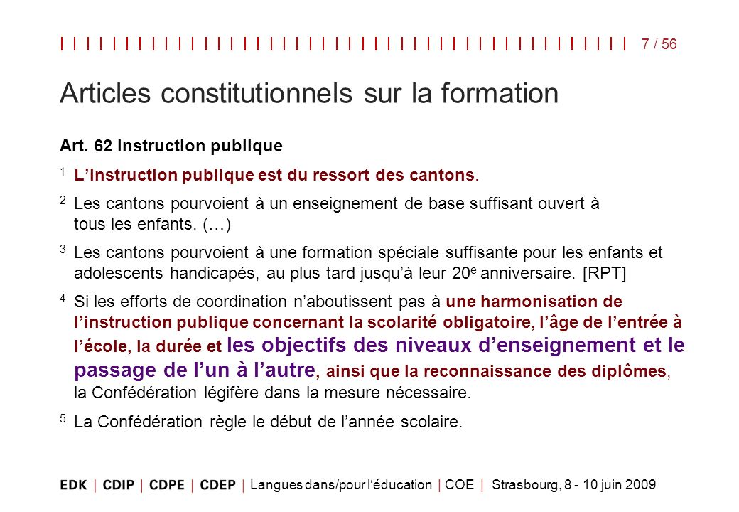Articles constitutionnels sur la formation
