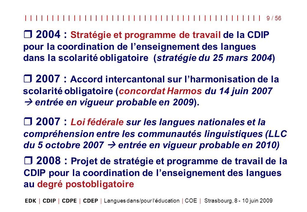2004 : Stratégie et programme de travail de la CDIP pour la coordination de l'enseignement des langues dans la scolarité obligatoire (stratégie du 25 mars 2004)