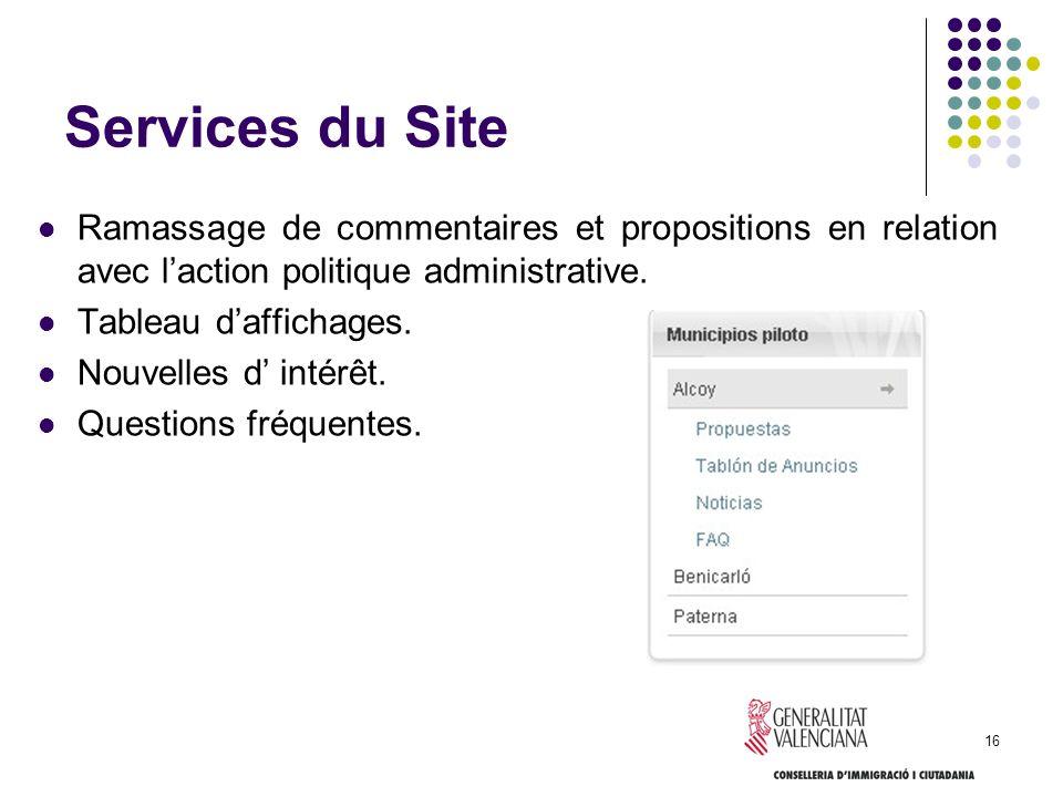 Services du Site Ramassage de commentaires et propositions en relation avec l'action politique administrative.