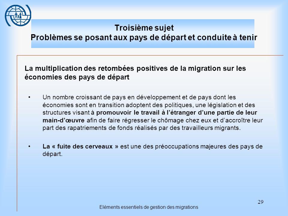 Eléments essentiels de gestion des migrations
