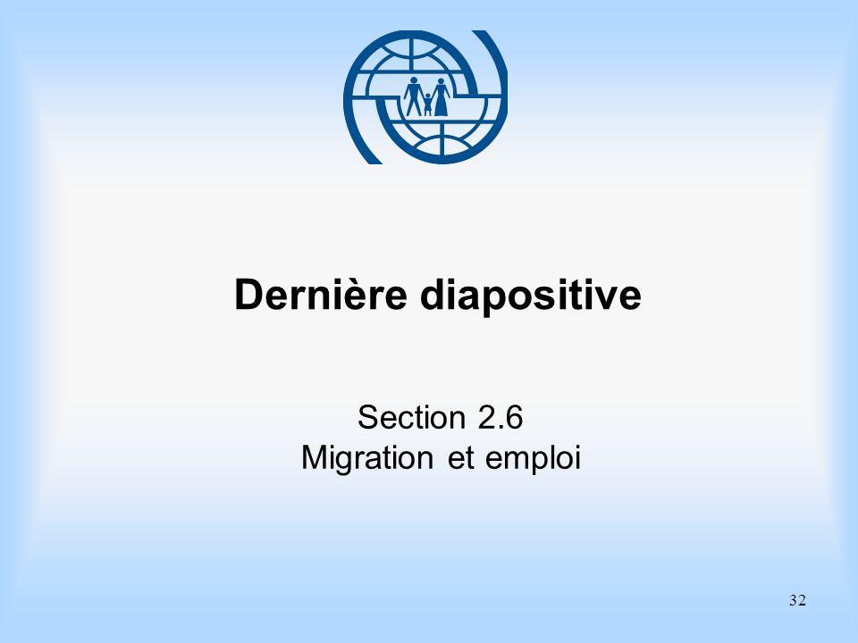 Dernière diapositive Section 2.6 Migration et emploi