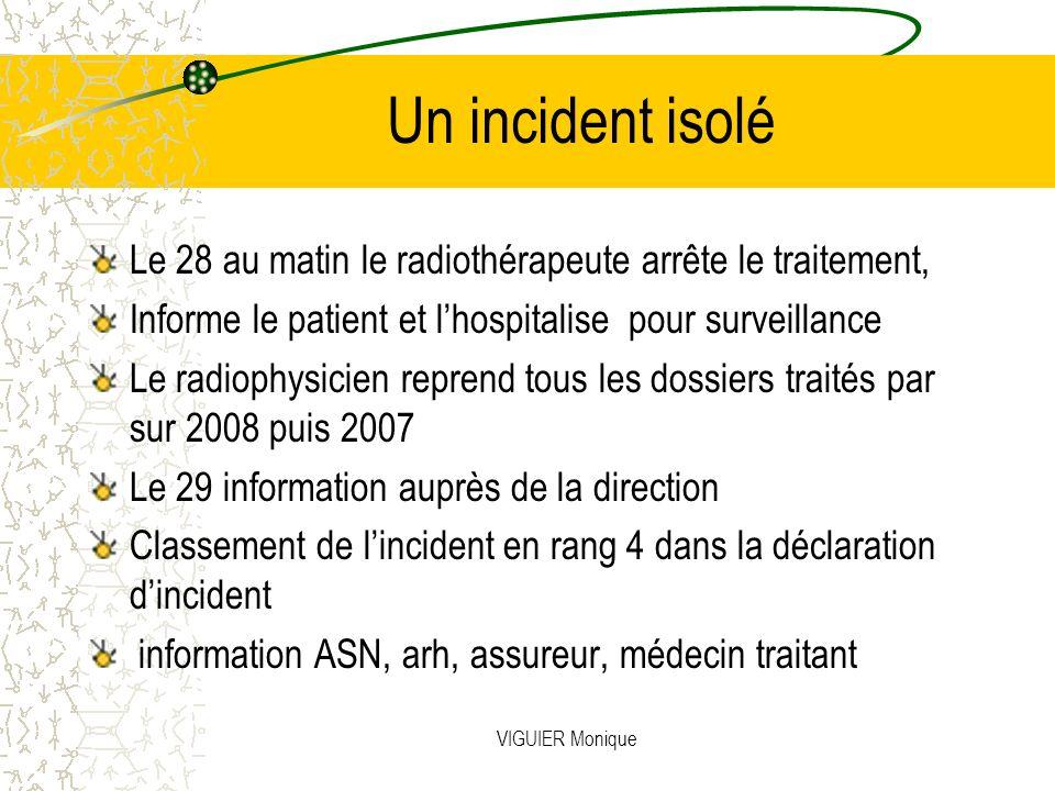 Un incident isolé Le 28 au matin le radiothérapeute arrête le traitement, Informe le patient et l'hospitalise pour surveillance.