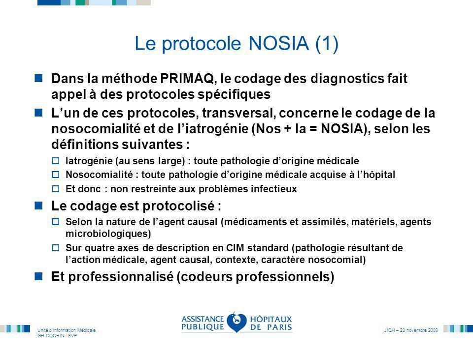 Le protocole NOSIA (1) Dans la méthode PRIMAQ, le codage des diagnostics fait appel à des protocoles spécifiques.