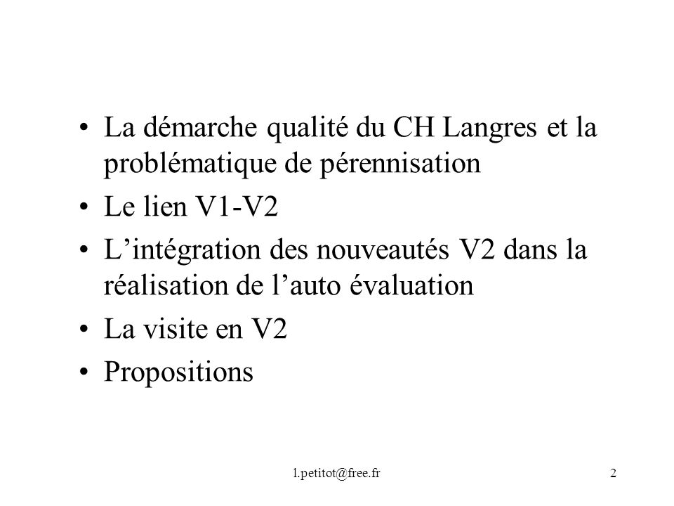 La démarche qualité du CH Langres et la problématique de pérennisation