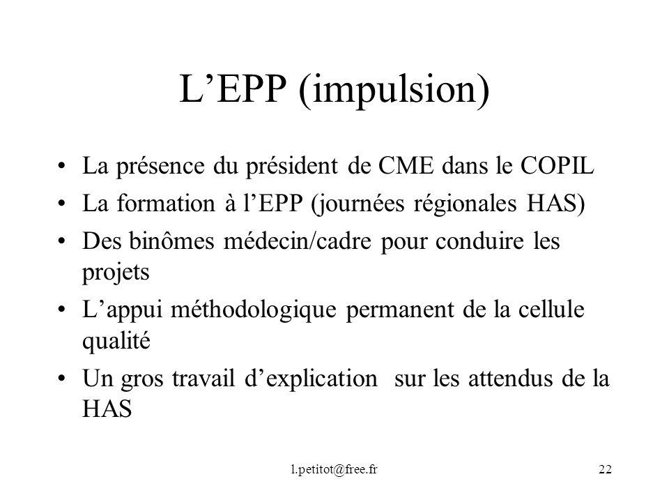 L'EPP (impulsion) La présence du président de CME dans le COPIL
