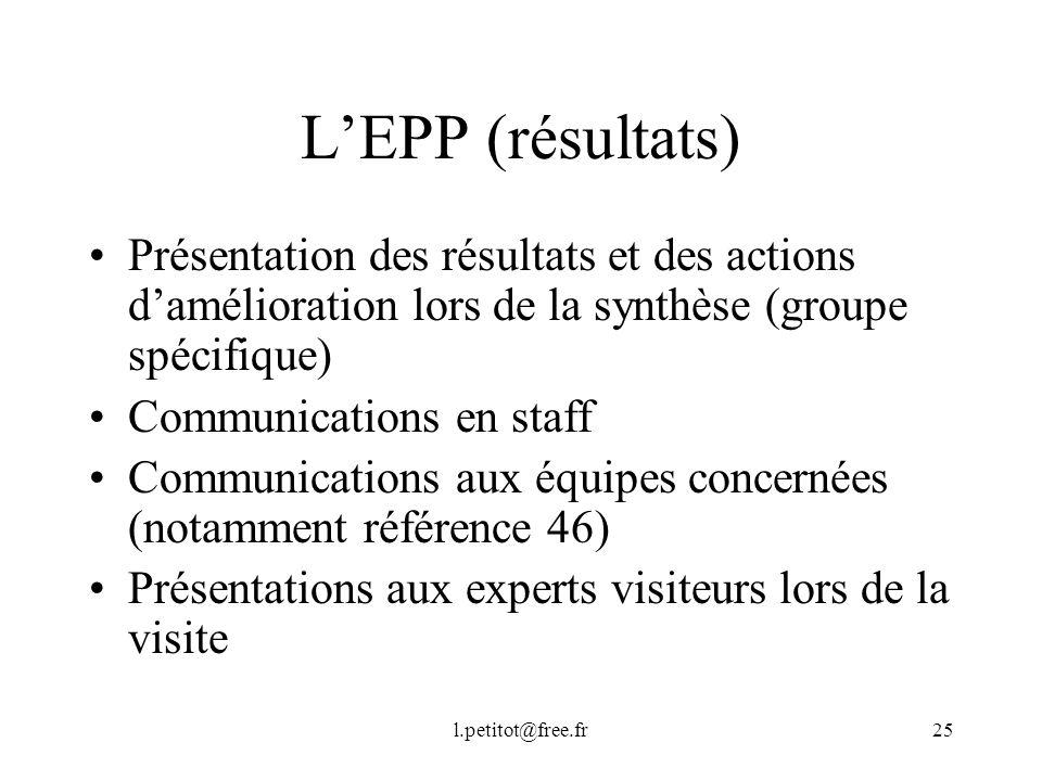 L'EPP (résultats) Présentation des résultats et des actions d'amélioration lors de la synthèse (groupe spécifique)
