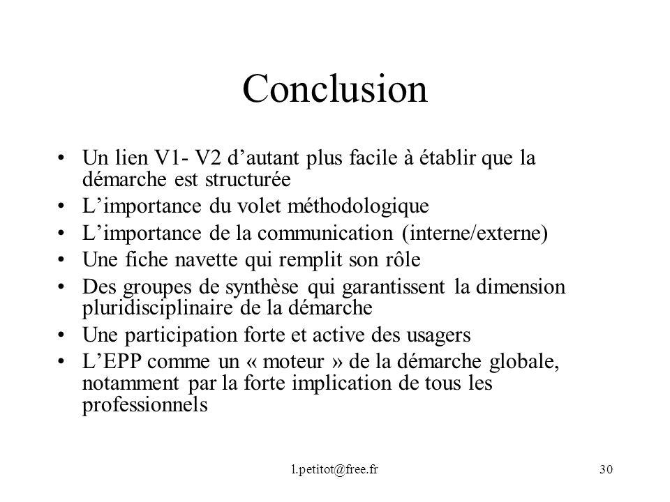 Conclusion Un lien V1- V2 d'autant plus facile à établir que la démarche est structurée. L'importance du volet méthodologique.