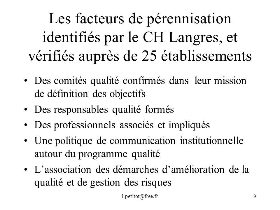 Les facteurs de pérennisation identifiés par le CH Langres, et vérifiés auprès de 25 établissements