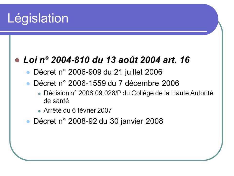 Législation Loi nº 2004-810 du 13 août 2004 art. 16