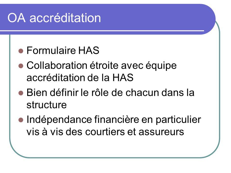 OA accréditation Formulaire HAS