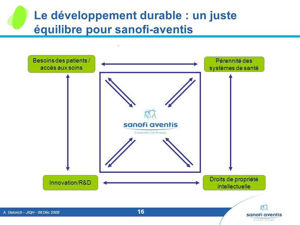 Le développement durable : un juste équilibre pour sanofi-aventis