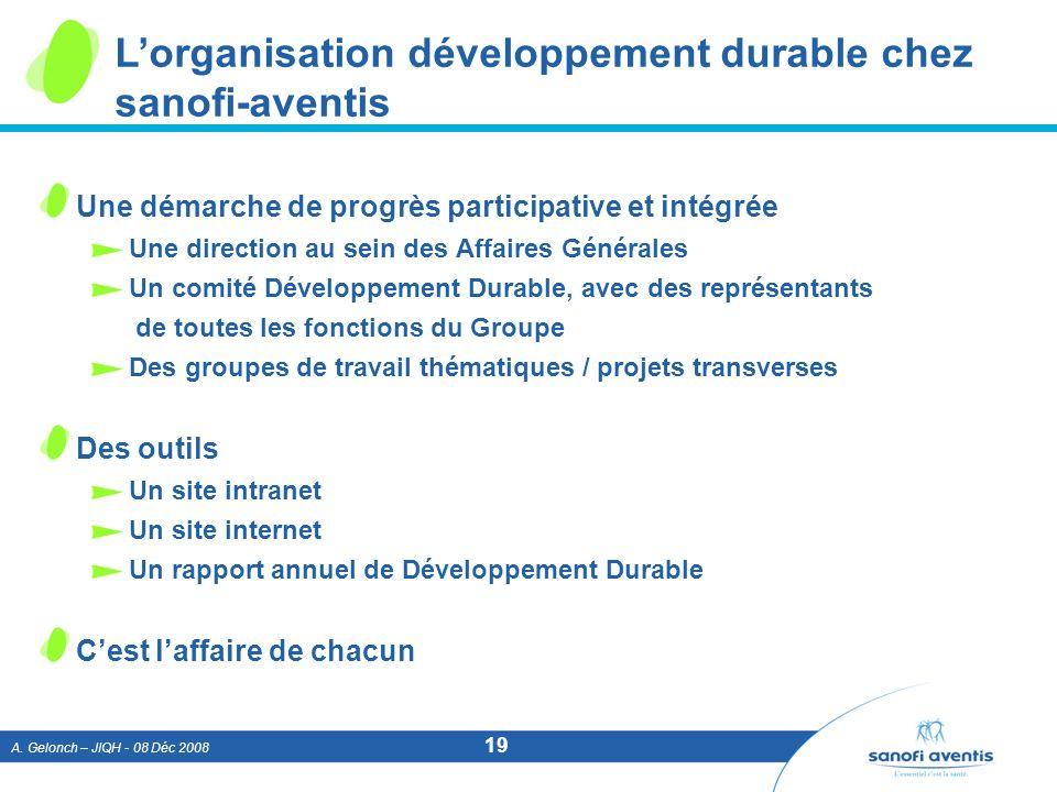 L'organisation développement durable chez sanofi-aventis