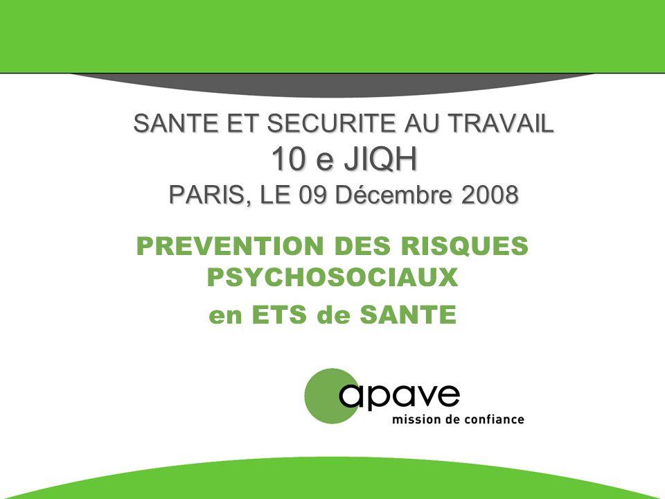 SANTE ET SECURITE AU TRAVAIL 10 e JIQH PARIS, LE 09 Décembre 2008