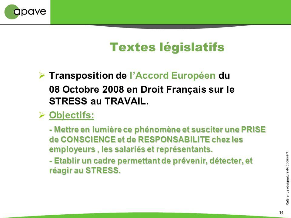 Textes législatifs Transposition de l'Accord Européen du
